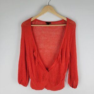 Theroy calida glint open knit sweater low cut red